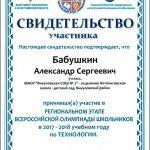Свидетельство Бабушкин Александр